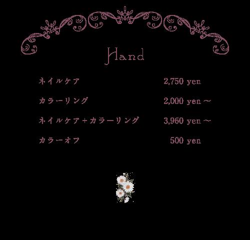 hand menu